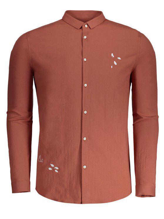 Camisa bordada bordada para homens acima - Laranja XL