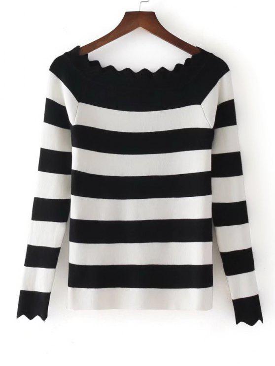 Stripes Scalloped fuera de los géneros de punto de hombro - Negro Única Talla