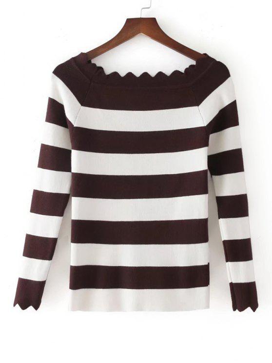 Stripes Scalloped Off Shoulder Knitwear - Castanha Tamanho único