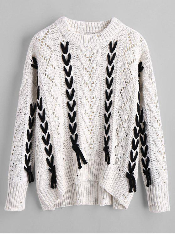 sale Sheer Oversized Lace Up Sweater - WHITE L