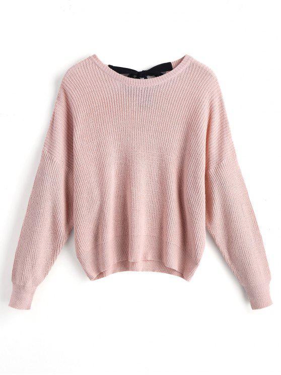 Übergröße Pullover mit Schleifedetail und Drop Schulter - Pink L