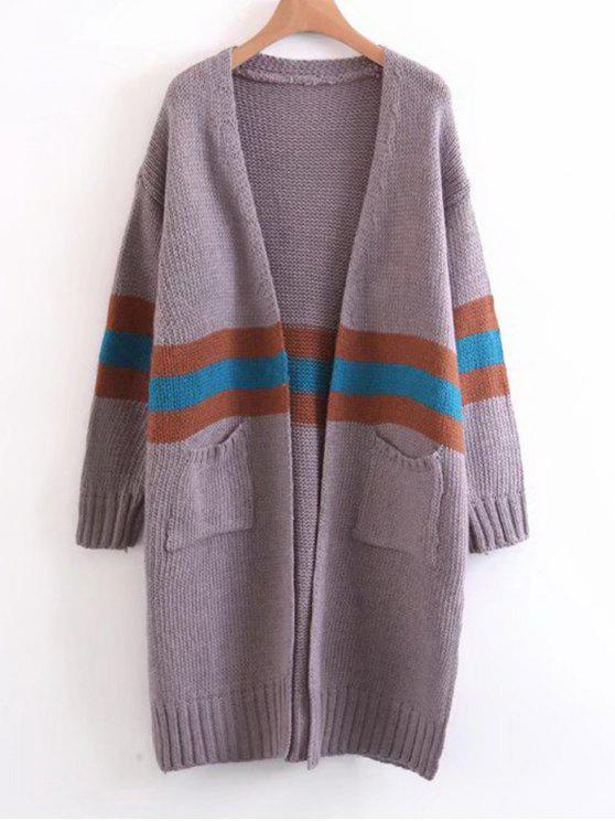Chaqueta de lana con rayas en contraste - Púrpura Única Talla