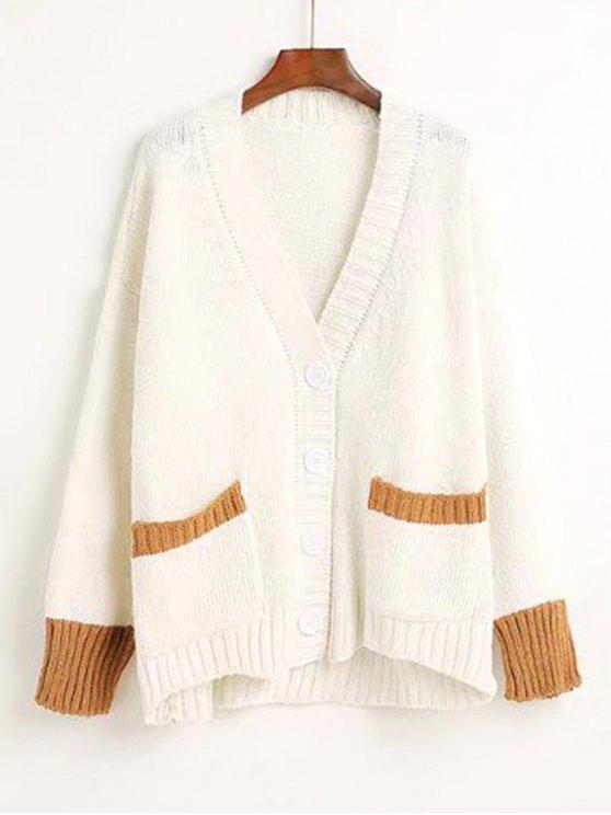 Cardigan Bicolore à Boutons et Col en V - Blanc Taille Unique