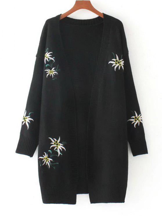 Cardigan floral bordé en vrac - Noir Taille Unique