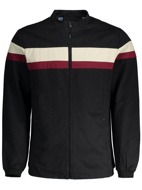 sale Wide Stripe Zip Up Jacket - BLACK 2XL