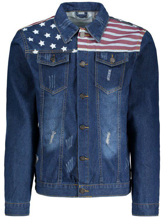 Las rayas y las estrellas imprimen la chaqueta rasgada del dril de algodón - Marina de Guerra 5XL