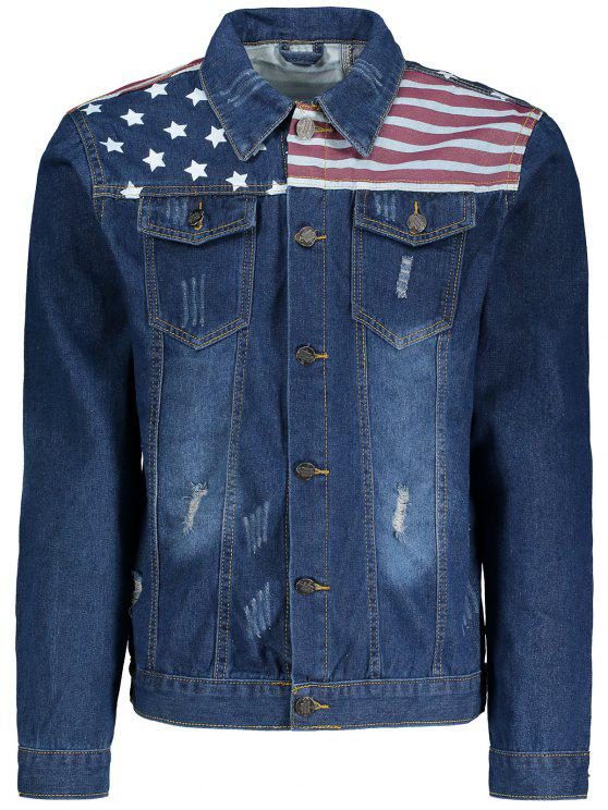 Stripes and Stars Print Ripped Denim Jacket - Azul Escuro 2XL
