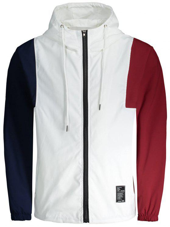 Blusa cortavientos de bloque de color con parche de letras - Blanco 5XL