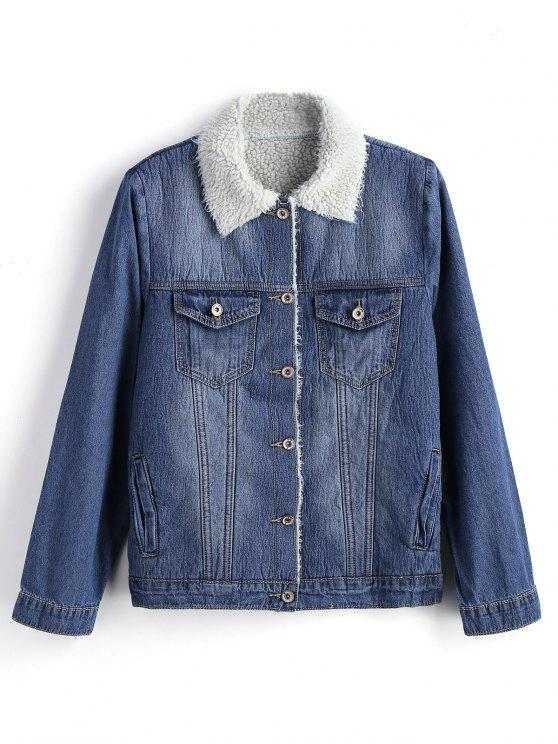 trendy Fur Collar Button Up Denim Jacket - DENIM BLUE M
