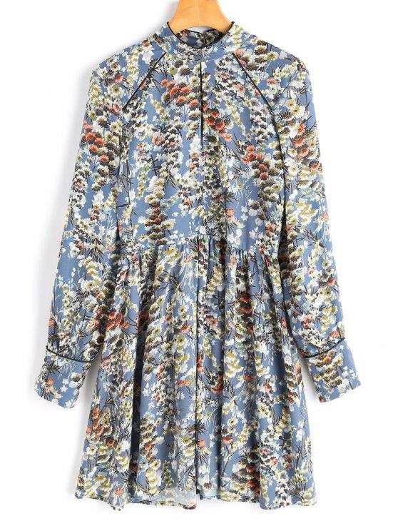 chic Keyhole Long Sleeve Floral A Line Dress - FLORAL L