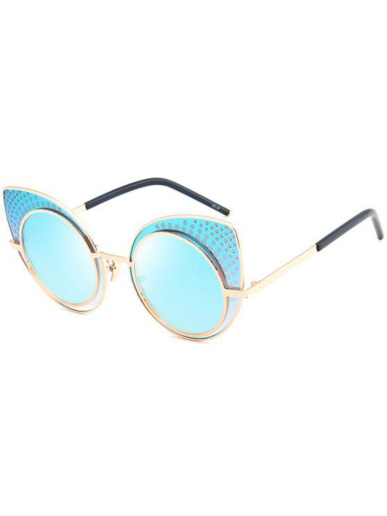 Anti UV Rhinestone Embellecido gafas de sol gato - Celeste