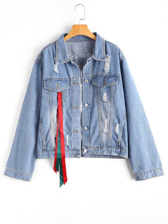 new Floral Embroidered Ripped Embellished Denim Jacket - LIGHT BLUE M