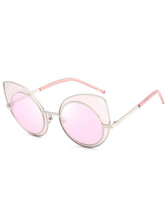 Anti UV Rhinestone Embellished Cat Eye Óculos de sol - Rosa