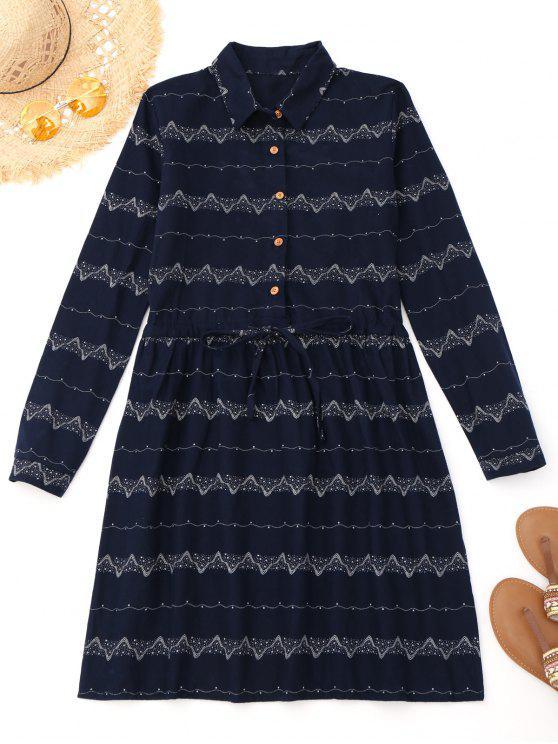 فستان طويلة الأكمام مشد طباعة - الأرجواني الأزرق L