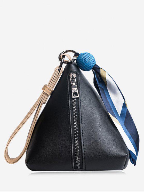 Sac Fourre-Tout en Forme de Triangle avec Perle et Foulard - Noir