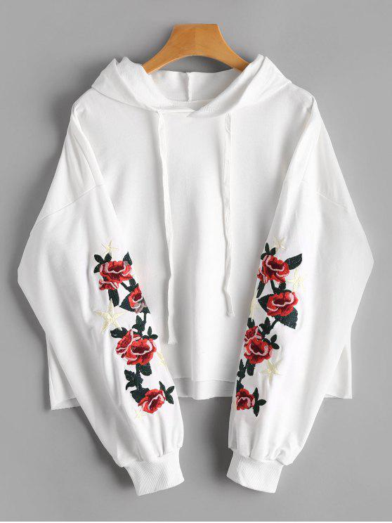 buy Floral Star Embroidered Patch Drawstring Hoodie - WHITE ONE SIZE