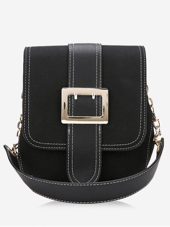 Bolsa de ombro com costura de fivela - Preto