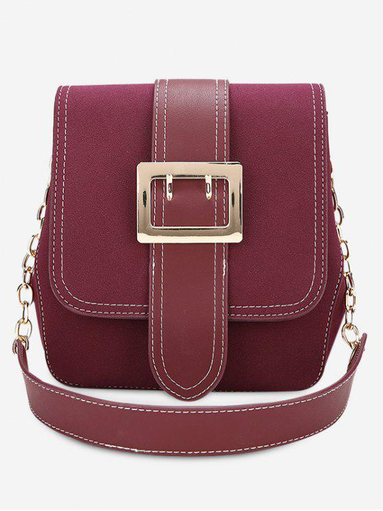 outfit Buckle Strap Stitching Shoulder Bag - PURPLISH RED