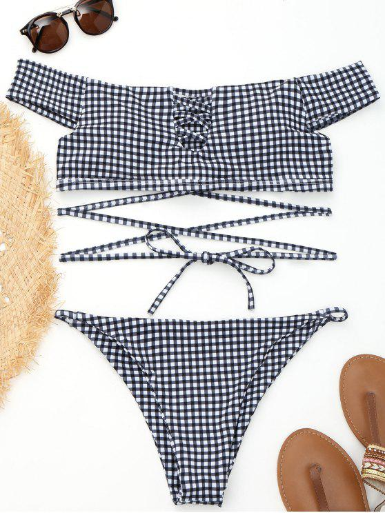 affordable Off Shoulder Plaid Strappy Wrap Bikini - PLAID M