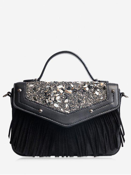 ladies Fringe Stone Pattern Rivet Corssbody Bag - BLACK