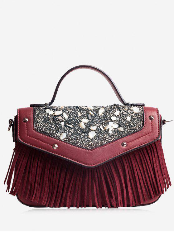 حقيبة كروسبودي بأهداب مزينة بأحجار وتفاصيل معدنية - نبيذ أحمر