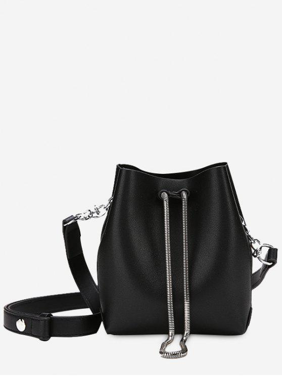 Faux Leather Chain Crossbody Set - Negro