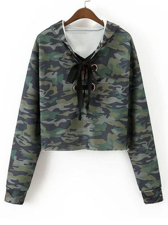 Sweat à Capuche Camouflage à Rose Brodée à Lacets - Vert Armée S