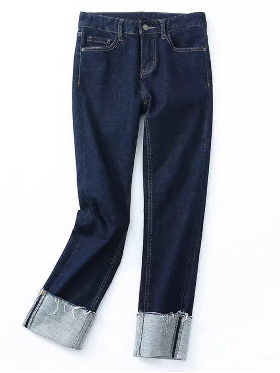 جينز رصاص ضيق مهتريء - ازرق M