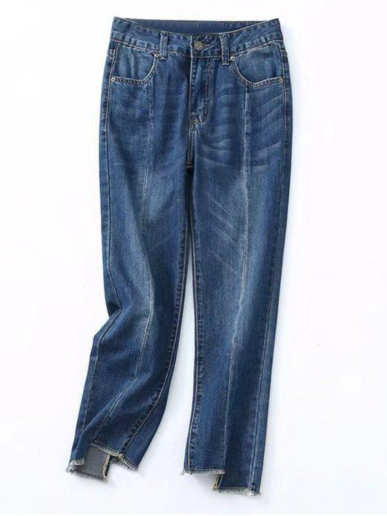 ladies Frayed Asymmetrical Hem Pencil Jeans - DENIM BLUE L