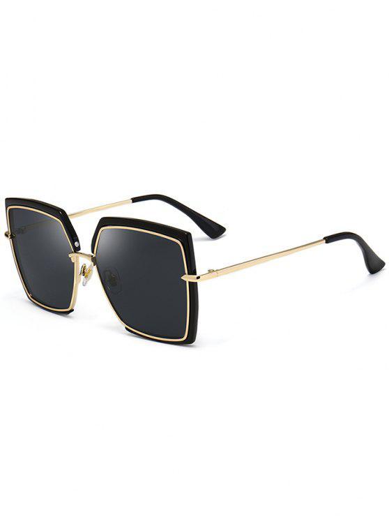 Óculos de sol quadrados ultra-finos de moldura completa - Preto