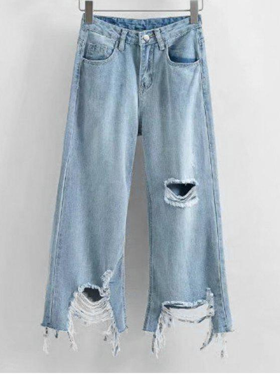 fashion Frayed Hem Distressed Wide Leg Jeans - LIGHT BLUE L