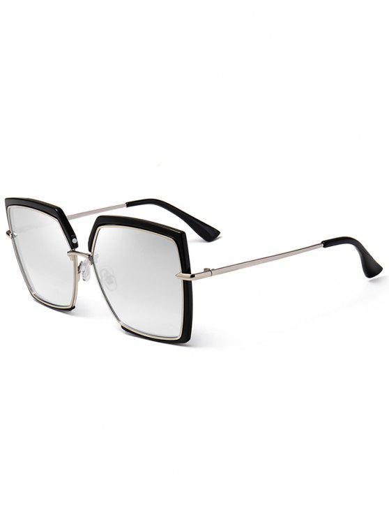 Anti UV Full Frame Oversized Cuadrado Gafas de Sol - Plata
