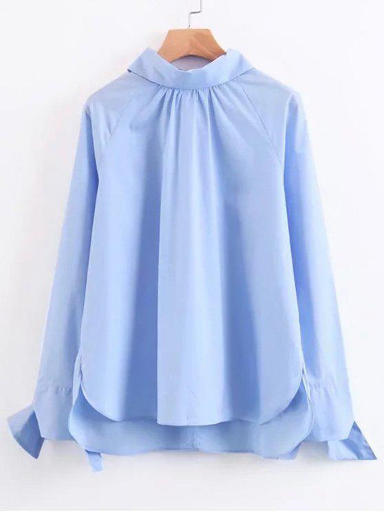 Blouse Haute-Basse Manches à Noeud Papillon - Bleu clair L