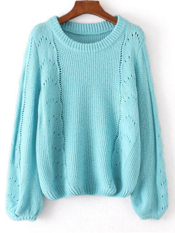 new Loose Lantern Sleeve Sheer Sweater - LIGHT BLUE ONE SIZE