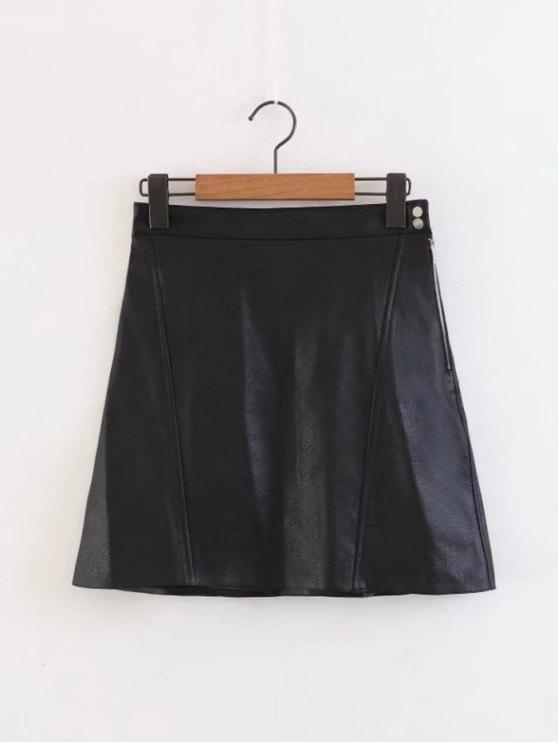 best Side Zip Faux Leather A Line Mini Skirt - BLACK S