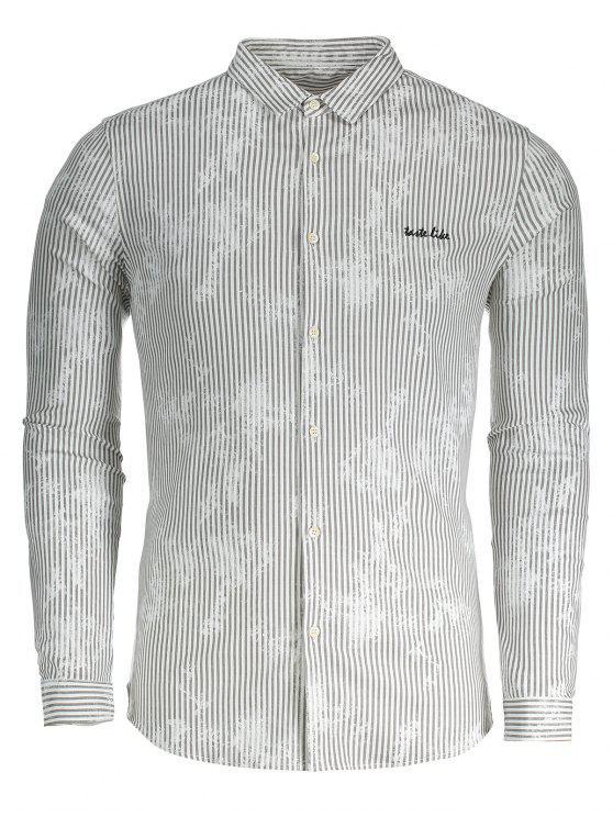 Camisa de tela a rayas para hombre - Gris 3XL