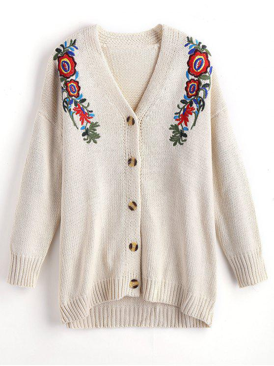 Button Up Floral Embroidered V Neck Cardigan OFF-WHITE: Sweaters S ...