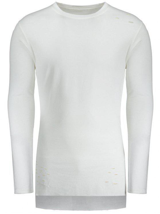 T-shirt de palangre alto e baixo afligido - Branco 2XL