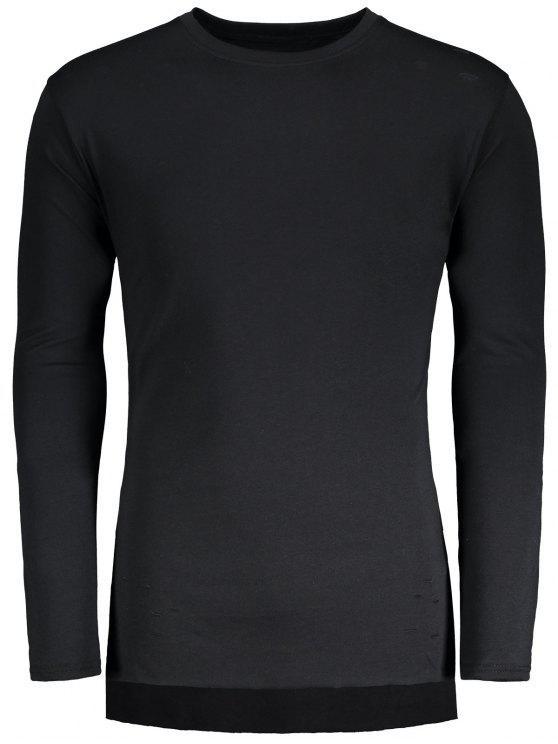 T-shirt Détresse Long Haut-Bas - Noir L