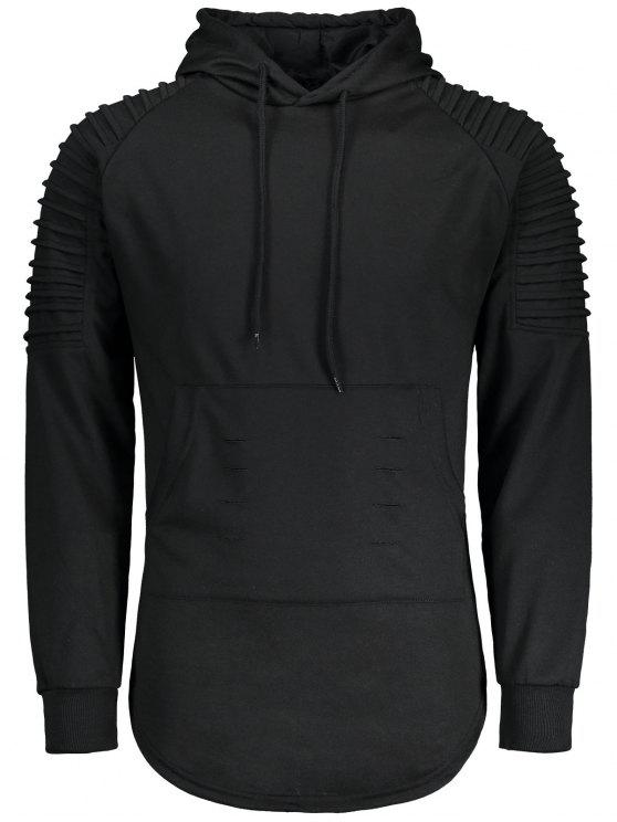 latest Ruches Distressed Longline Hoodie - BLACK M