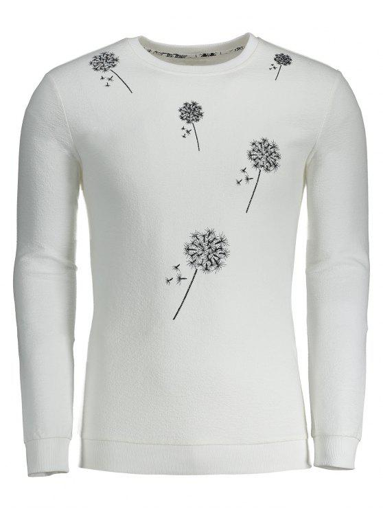 Sweatshirt mit Löwenzahn Stickerei - Weiß XL
