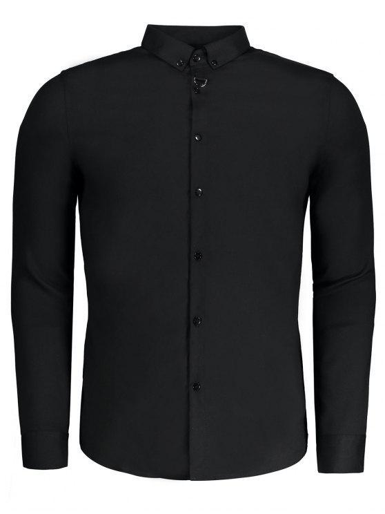 Button down mens formal shirt black shirts 3xl zaful for Tuxedo shirt black buttons