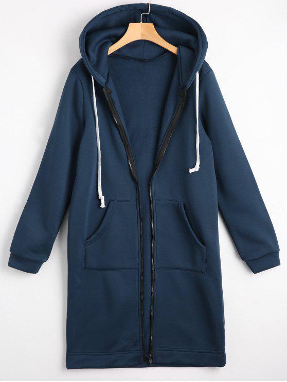 Sweat à Capuche Long Zippé avec Poches - Bleu Cadette M
