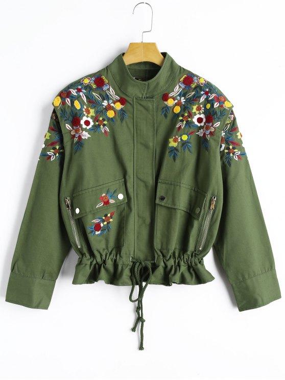 e710b18fe950c Chaqueta bordada floral de la cintura del lazo - Verde del ejército S
