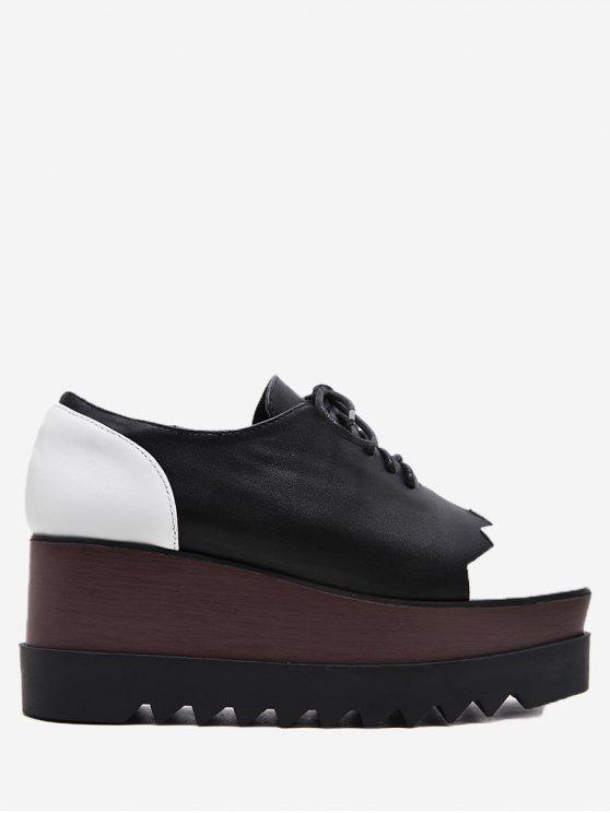 Zapatos de cuña de bloque de color de cuero de falso - Negro 36