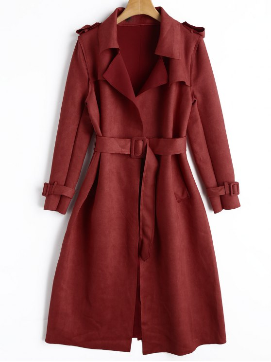 chic Suede Long Wrap Coat - RED L