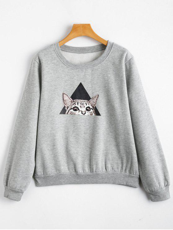 lady Cat Print Fleece Crew Neck Sweatshirt - GRAY L