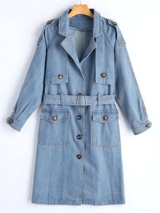 best Belted Button Up Denim Trench Coat - DENIM BLUE S