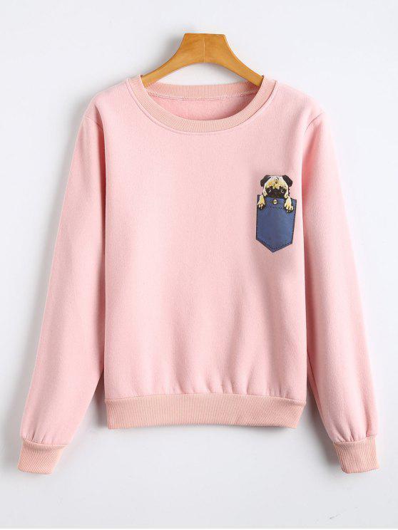 Sweat-shirt à Col Ras du Cou Imprimé Chien en Molleton - Rose  S