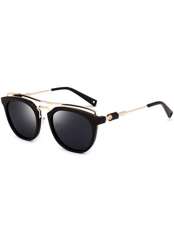 womens Metallic Full Frame Crossbar Sunglasses - BLACK